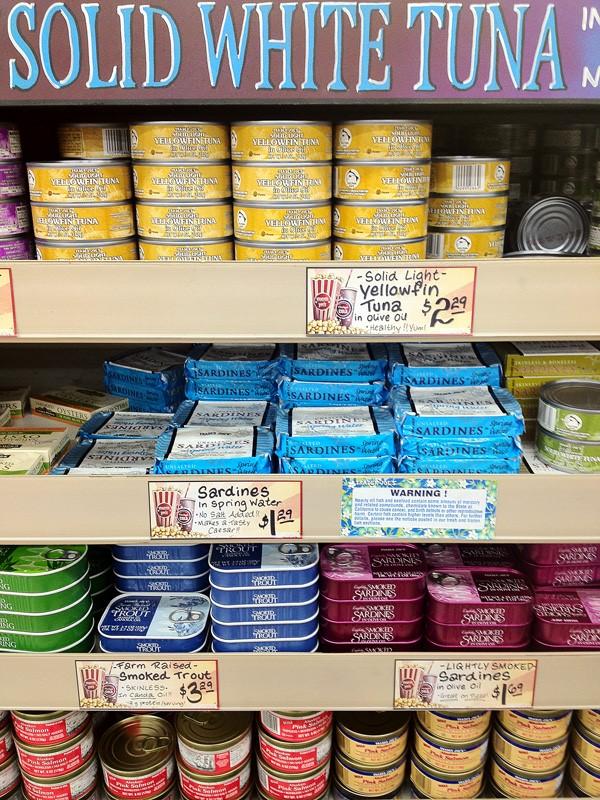 Sardines and tuna in the bank