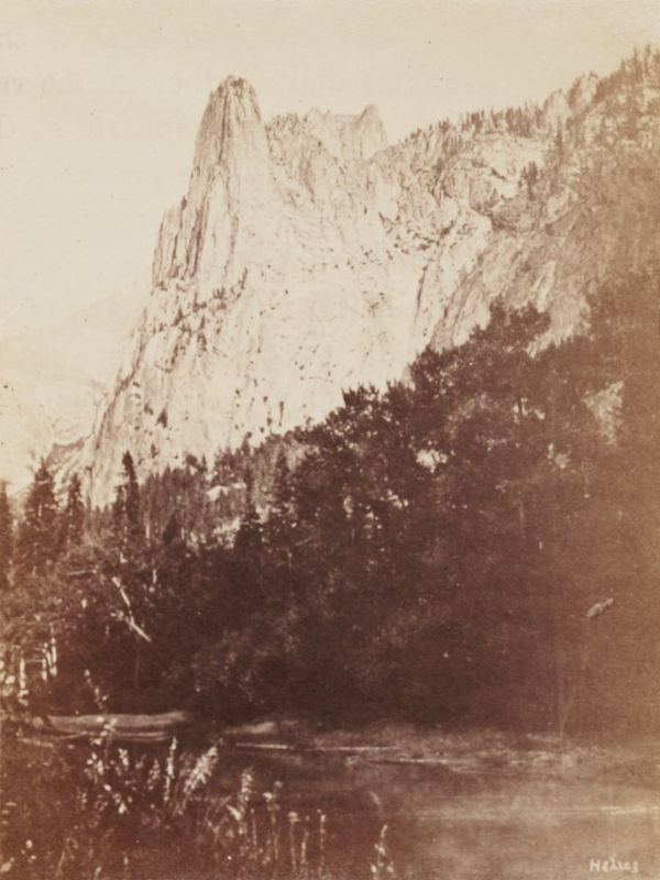 """Sentinel Rock,"" photographed by Eadweard Muybridge, [signed ""HELIOS""], 1867."